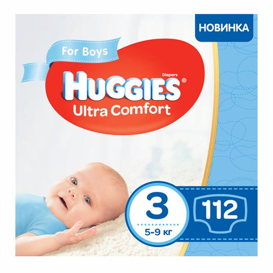 Подгузники Huggies Ultra Comfort для мальчика, размер 3, 5-9 кг, 112 шт, арт. 5029053547817