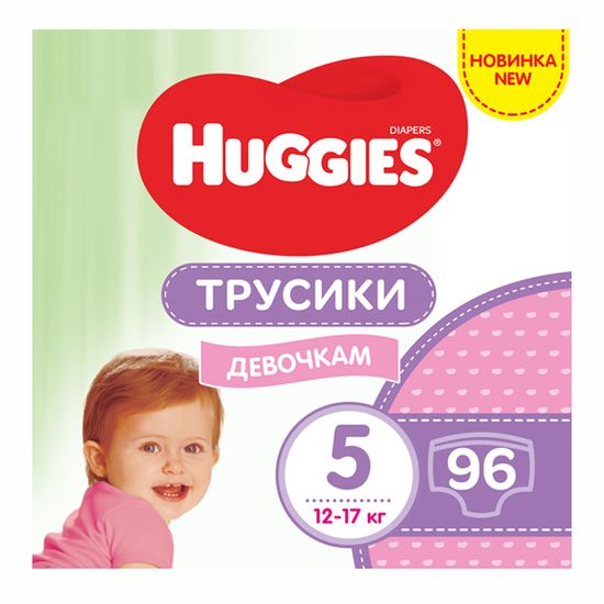 Подгузники-трусики Huggies Pants Mega для девочки, размер 5, 12-17 кг, 96 шт, арт. 5029054568170