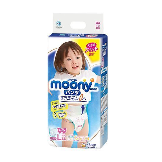 Подгузники-трусики Moony для девочки, размер L, 9-14 кг, 44 шт, арт. 4903111206438