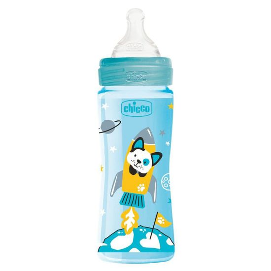 Бутылочка пластик Chicco Well-Being Physio Colors, 330мл, соска силикон, 4м+, арт. 28637, цвет Голубой
