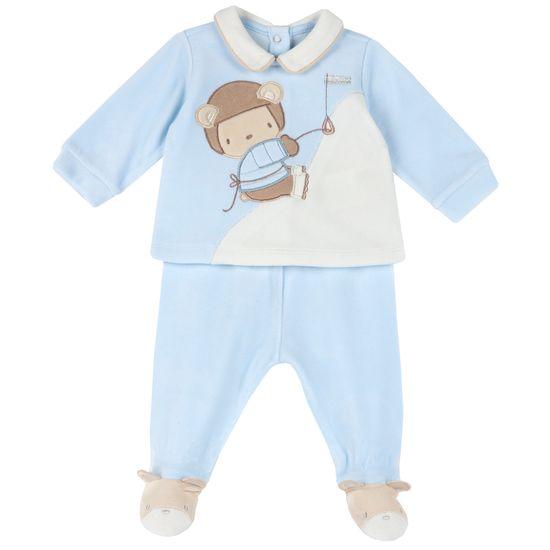 Костюм велюровый Chicco Daniel: рубашка и ползунки, арт. 090.76998.021, цвет Голубой