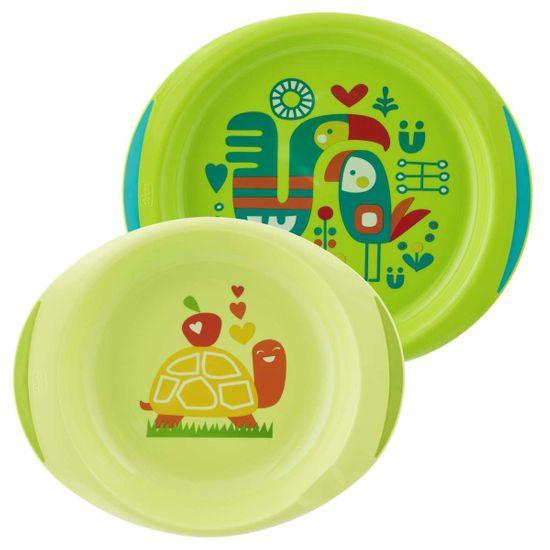 Набор тарелок Chicco Easy Feeding, 2 шт, 12 m+, арт. 16002, цвет Салатовый