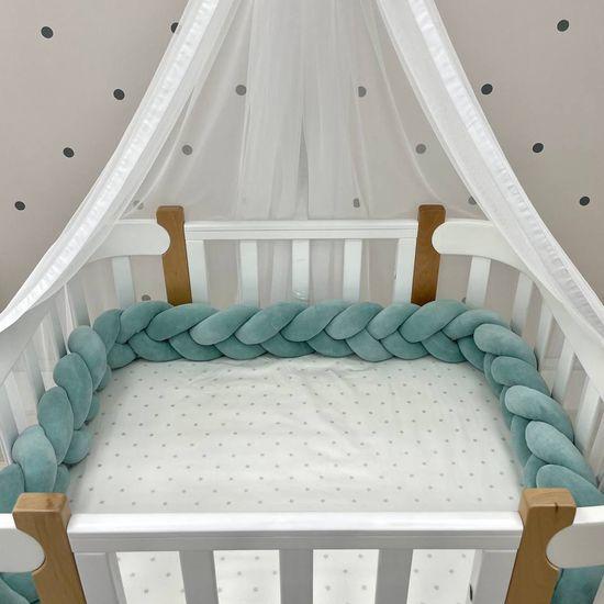 """Бортик в кроватку Piccolino """"Коса"""", размер M, арт. 111781, цвет Бирюзовый"""
