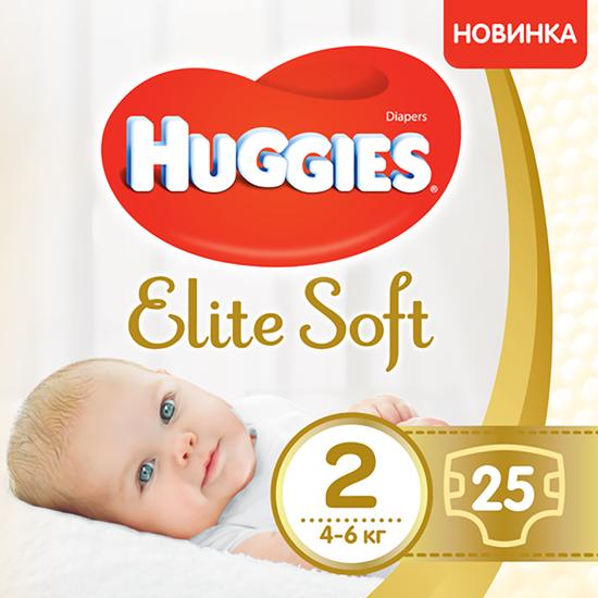 Подгузники Huggies Elite Soft, размер 2, 4-6 кг, 25 шт, арт. 5029053547961