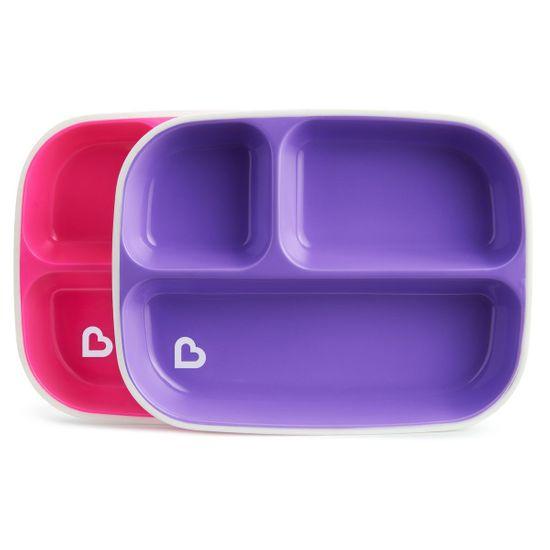 "Набор тарелок Munchkin ""Splash Divided Plates"", 2 шт, арт. 46727, цвет Розовый"