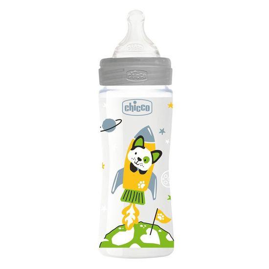 Бутылочка пластик Chicco Well-Being Physio Colors, 330мл, соска силикон, 4м+, арт. 28637, цвет Серый