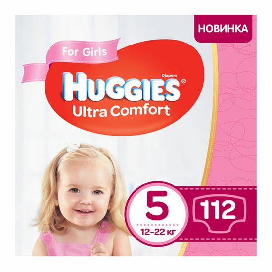 Подгузники Huggies Ultra Comfort для девочки, размер 5, 12-22 кг, 112 шт, арт. 5029054218129