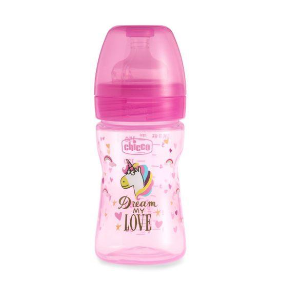 Бутылочка пластик Chicco Well-Being Love, 150мл, соска силикон, 0m+  , арт. 09849, цвет Розовый