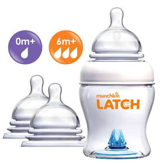 Набор Munchkin Latch: бутылочка 120мл и соски 0м+, 6м+, арт. 011614.0-6