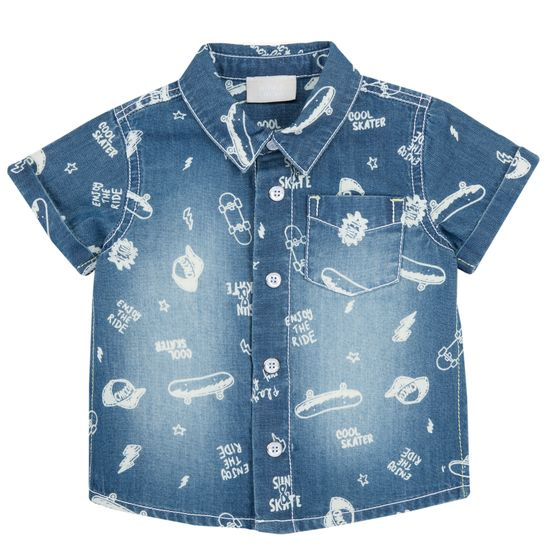Рубашка джинсовая Chicco Fun walk , арт. 090.66298.085, цвет Синий