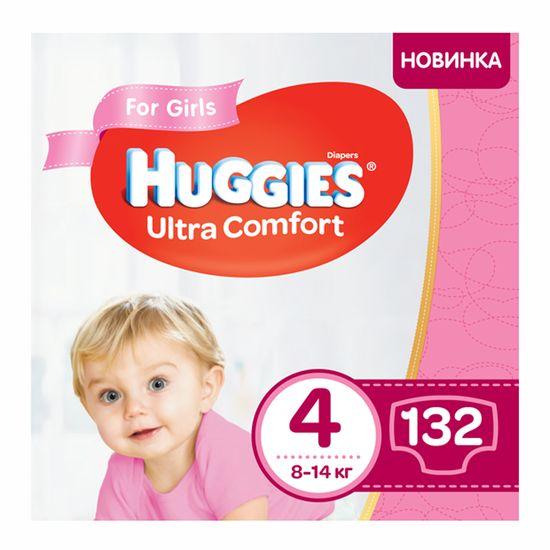 Подгузники Huggies Ultra Comfort для девочки, размер 4, 8-14 кг, 132 шт, арт. 5029054218105