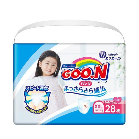 Подгузники-трусики Goo.N для девочки, размер XXL, 13-25 кг, 28 шт, арт. 853885