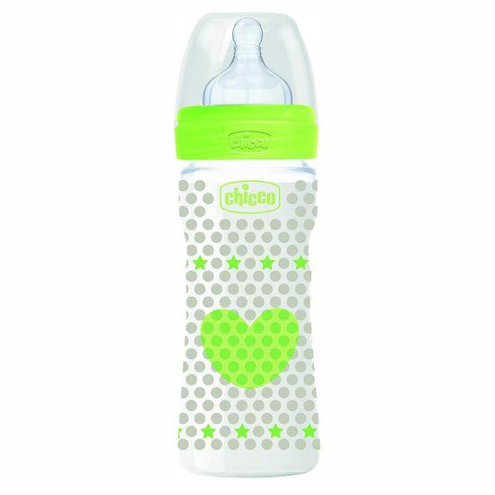 Бутылочка пластик Chicco Well-Being, 250мл, соска силикон, 2м+, арт. 20623, цвет Желтый