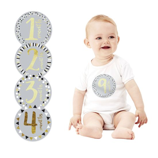 """Подарочный набор наклеек """"Первый год"""" (серо-золотые), арт. 73005, цвет Серый"""