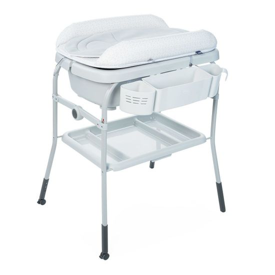 Пеленальный столик с ванночкой Chicco Cuddle & Bubble, арт. 79348, цвет Серый с белым