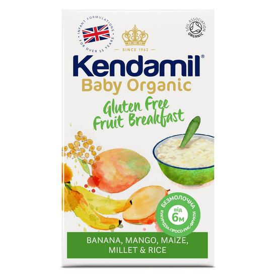 Органическая безмолочная каша кукуруза-просо-рис Kendamil Organic с фруктами, с 6 мес., 150 г, арт. 77000068
