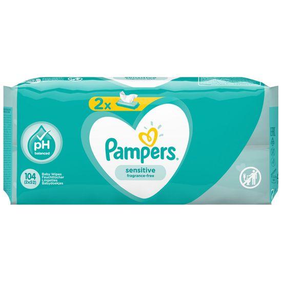 Детские влажные салфетки Pampers Sensitive, 2 уп.x52 шт, арт. 8001841062334