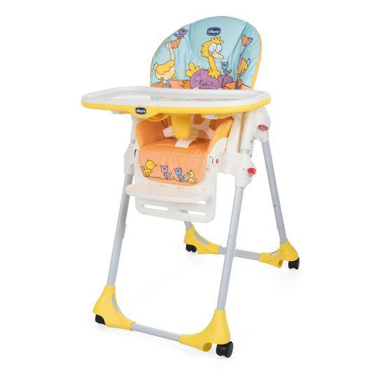 Стульчик для кормления Chicco Polly Easy, 4-х колесный, арт. 79565, цвет Желтый