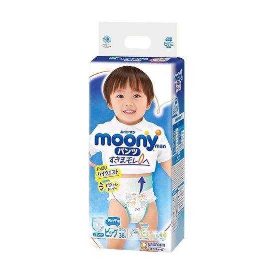 Подгузники-трусики Moony для мальчика, размер XL, 12-22 кг, 38 шт, арт. 4903111207671