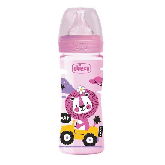 Бутылочка пластик Chicco Well-Being Physio Colors, 250мл, соска силикон, 2м+, арт. 28623, цвет Розовый