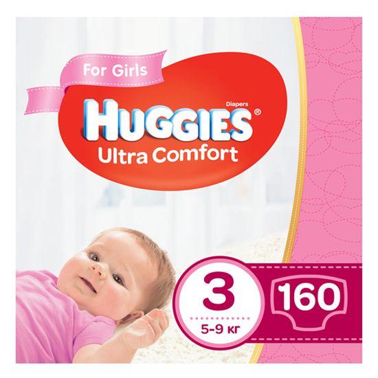 Подгузники Huggies Ultra Comfort для девочки, размер 3, 5-9 кг, 160 шт, арт. 5029054218082
