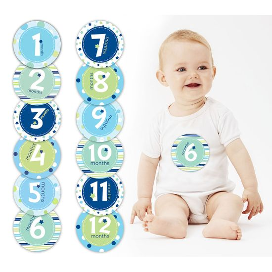 """Подарочный набор наклеек """"Первый год"""" (голубой), арт. 60030, цвет Голубой"""
