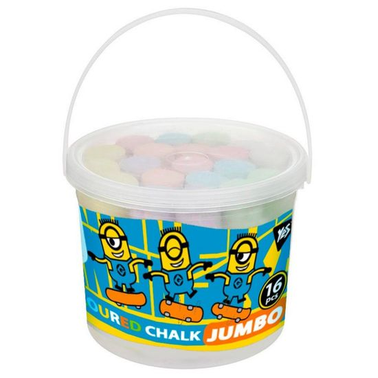 "Мел цветной YES ""Jumbo. Minions"" в ведре, 16 шт, арт. 400380"