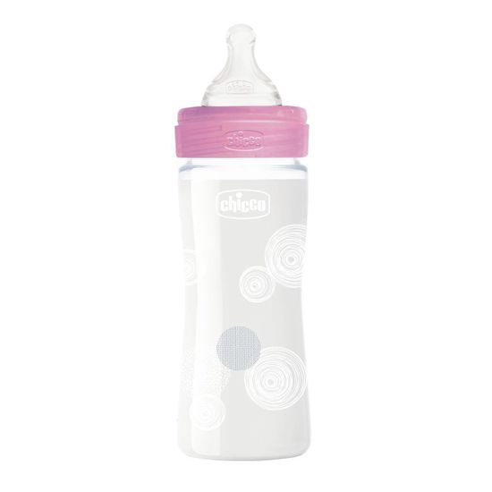 Бутылочка стекло Chicco Well-Being Physio, 240мл, соска силикон, 0м+, арт. 28721, цвет Розовый