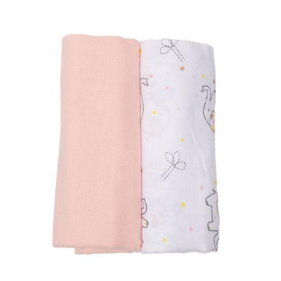 "Набор пеленок Piccolino ""Baby elephant"": фланель и муслин, 80 х100 см, арт. 111798.02, цвет Розовый"