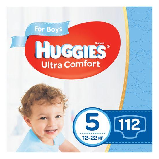Подгузники Huggies Ultra Comfort для мальчика, размер 5, 12-22 кг, 112 шт, арт. 5029054218136