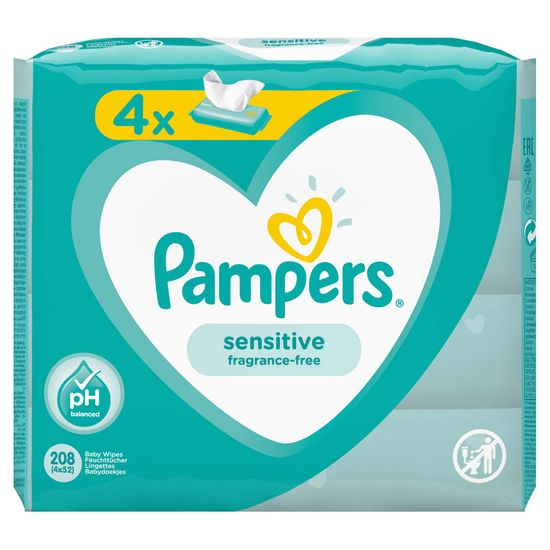 Детские влажные салфетки Pampers Sensitive, 4 уп.x52 шт, арт. 8001841062624