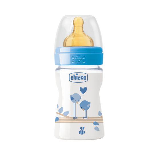 Бутылочка пластик Chicco Well-Being, 150мл, соска латекс, 0м+, арт. 20610, цвет Голубой