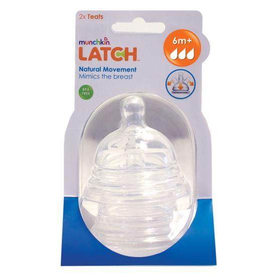 Соска силиконовая для бутылочки Munchkin Latch, 6м+, 2 шт, арт. 011646