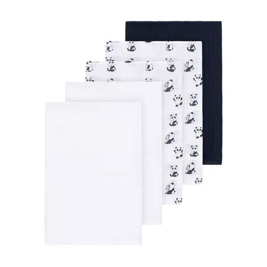 Муслиновые пеленки (5 шт) Name it Black Panda, арт. 201.13174495.DSAP, цвет Синий с белым