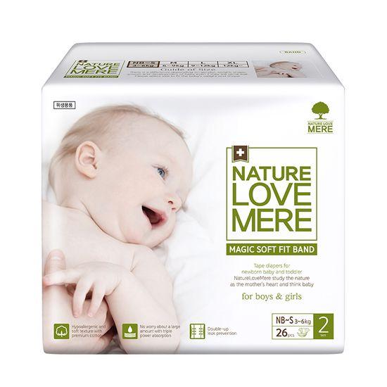 Подгузники Nature Love Mere Magic Soft Fit, размер 2 (NB/S), 3-6 кг, 26 шт, арт. 8809402093656