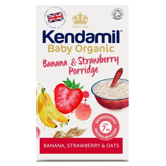 Органическая безмолочная овсяная каша Kendamil Organic с бананом и клубникой, с 7 мес., 150 г, арт. 77000069