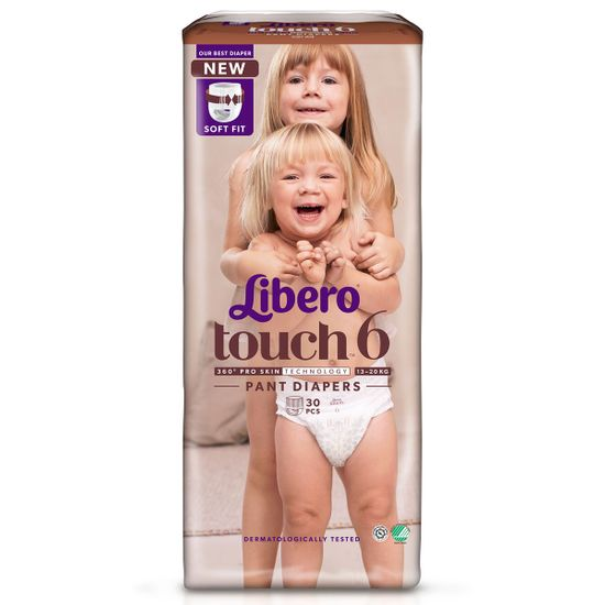 Подгузники-трусики Libero Touch, размер 6, 13-20 кг, 30 шт, арт. 8250-01
