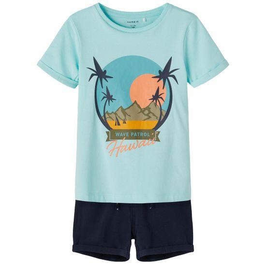 Костюм Name it Waves blue: футболка и шорты, арт. 211.13187609.BTIN, цвет Голубой