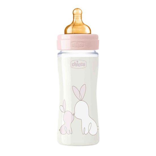 Бутылочка стекло Chicco Original Touch, 240мл, 0м+, арт. 27720, цвет Розовый