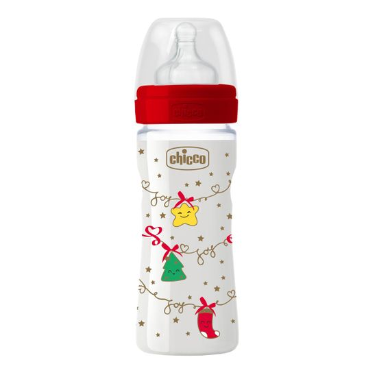 Бутылочка пластик Chicco Well-Being, 250мл, соска силикон, 2м+, Christmas, арт. 55622.00, цвет Красный