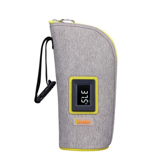 Термочехол для бутылочки iHotKu Smart, арт. iHK-718, цвет Серо-салатовый