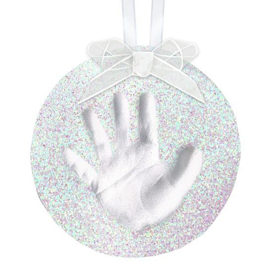 """Подарочный новогодний глиняный слепок на ленте """"Ладошка"""", арт. 50019, цвет Белый"""