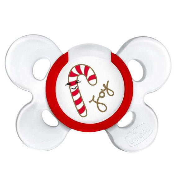 Пустышка Chicco Physio Сomfort Christmas, силикон, 6-12 мес., 1 шт., арт. 55617.00, цвет Красный