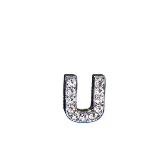"""Эмодзи Tinto """"Буква U"""" со стразами, арт. LT00931.1, цвет Серебряный"""