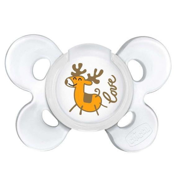 Пустышка Chicco Physio Сomfort Christmas, силикон, 0-6 мес., 1 шт., арт. 55616.00, цвет Белый