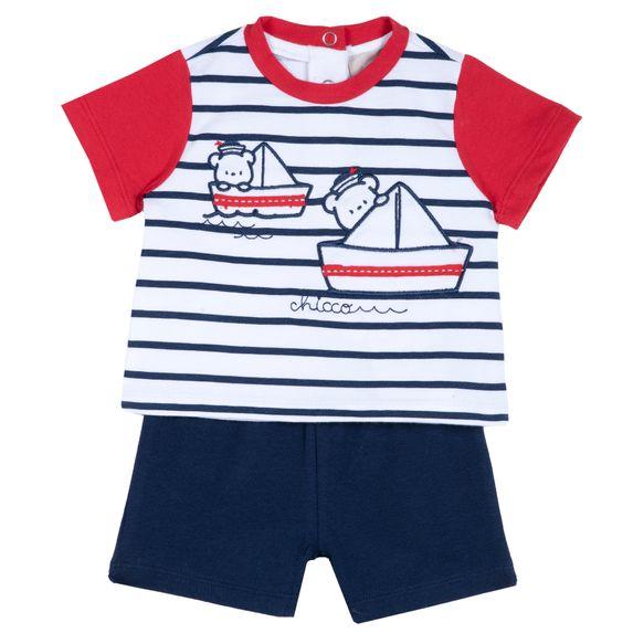 Костюм Chicco Little sailor: футболка и шорты, арт. 090.76472.085, цвет Синий с белым
