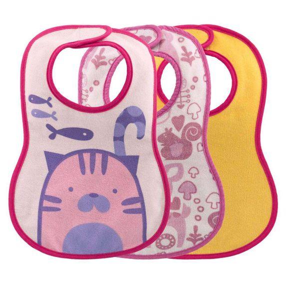 Слюнявчики непромокаемые Chicco WEANING BIB, 3 шт., арт. 16301, цвет Розовый
