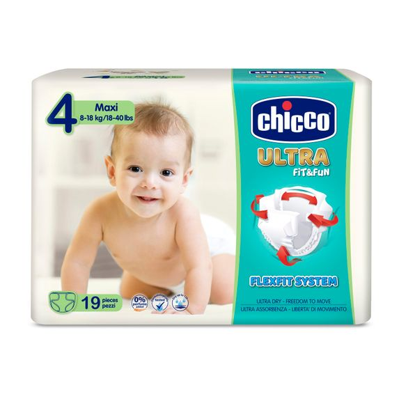 Подгузники Chicco Ultra Fit&Fun Maxi, 8-18 кг, 19 шт., арт. 08383
