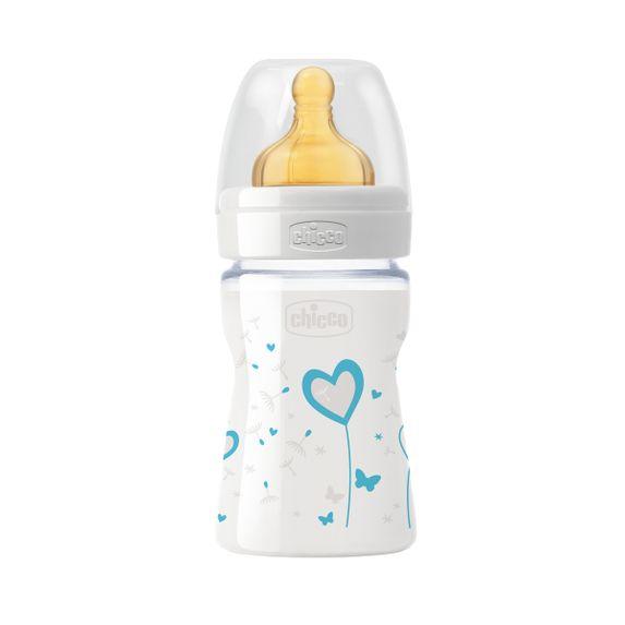 Бутылочка стекло Chicco Well-Being, 150мл, соска латекс, 0м+, арт. 20710, цвет Голубой