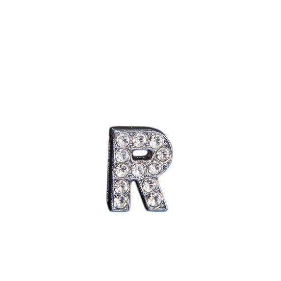 """Эмодзи Tinto """"Буква R"""" со стразами, арт. LT00928.1, цвет Серебряный"""